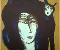 litho-corneille-femme-chat